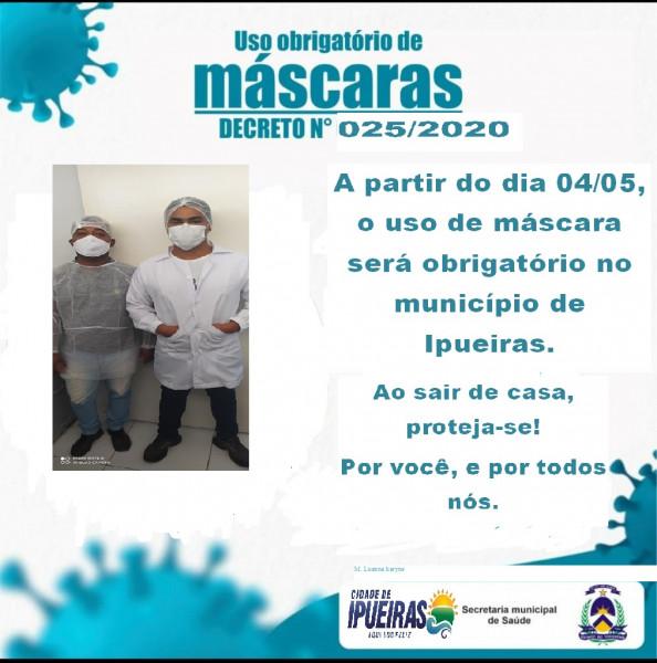 Decreto Municipal, passa a ser obrigatório, utilização das máscaras  a partir de 04 de maio 2020.